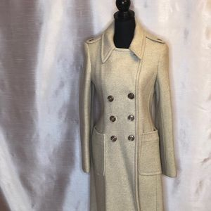 DKNY Mid Length Wool Coat in Oatmeal color